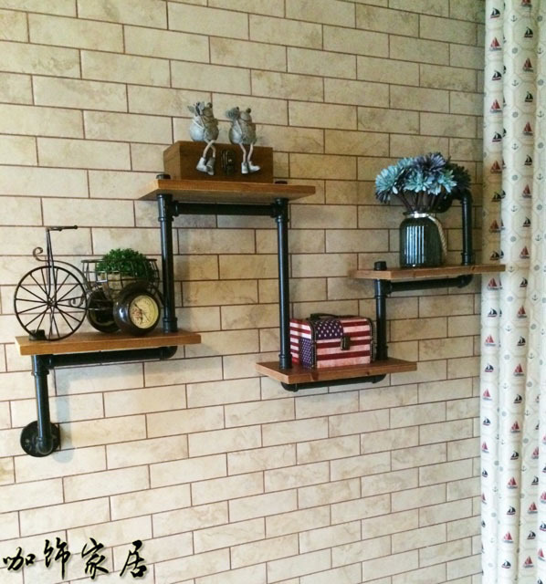 American Village Cafe Coffee Vintage Decorative Wrought Iron Wood Clapboard Wall Shelf Bookcase Creative Rustic