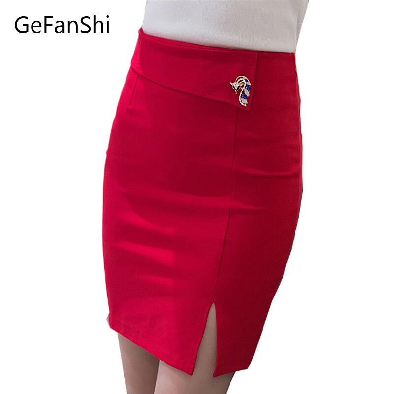 Fashion Sexy Slim 2017 Spring New Women Pencil Skirt High Waist Stretch fabrics Split Back Zipper