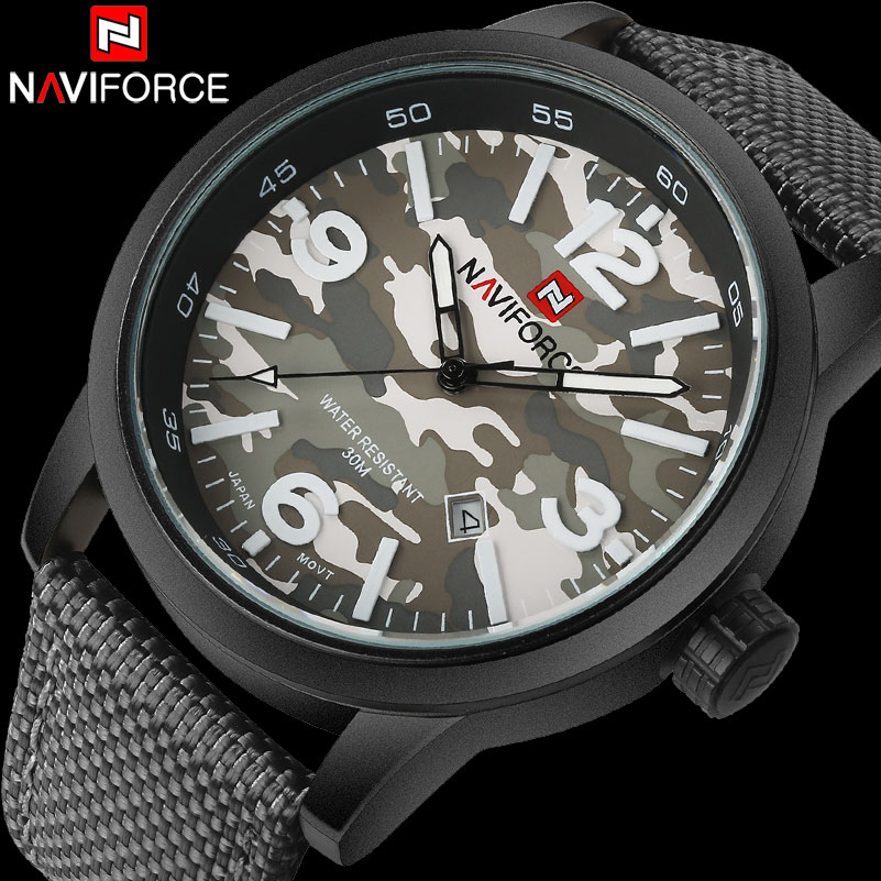 NAVIFORCE Fashion Brand Mens Sport Watches Men Camouflage Military Quartz Watch Nylon Strap Auto Calendar 30M Waterproof Clock 2017 new arrival naviforce brand quartz watch men sport watchs stainless steel waterproof wristwatches auto calendar gift clock