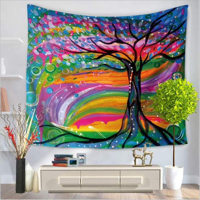 Home Decor Wall Hanging Colorful Fabric Painted Tree Tapestry Throw  Bohemian Door Curtain Bedspread Home Decoration