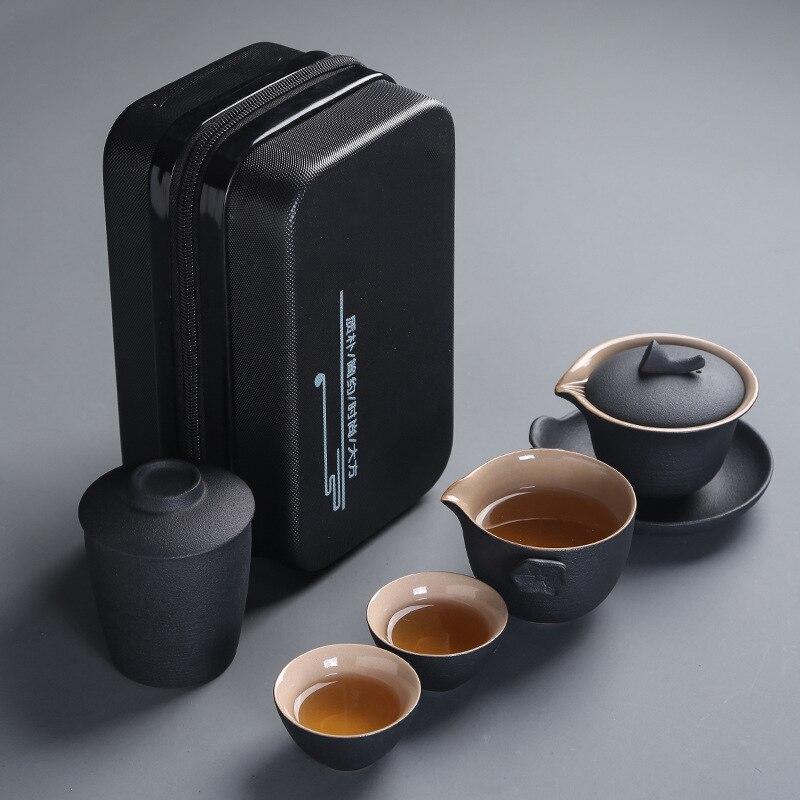 Ensembles de thé portables chinois Kung Fu thé à thé en porcelaine ensembles de thé Traditions chinoises Gaiwan ensemble thé tasse de sable violet ensembles de thé cadeaux