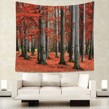 Four Seasons Forest Style 100% Polyester Tapestry Red Maple Leaves Sunrise Sunset Lake Decorative Wall Hanging GT15