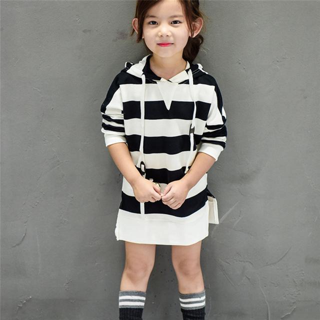 Casual Niñas Bebés Rayas de Manga Larga Tops Camisetas Largas camiseta de Una pieza Del Niño Del Cabrito de Los Niños Con Capucha Larga Tops Pullover ropa