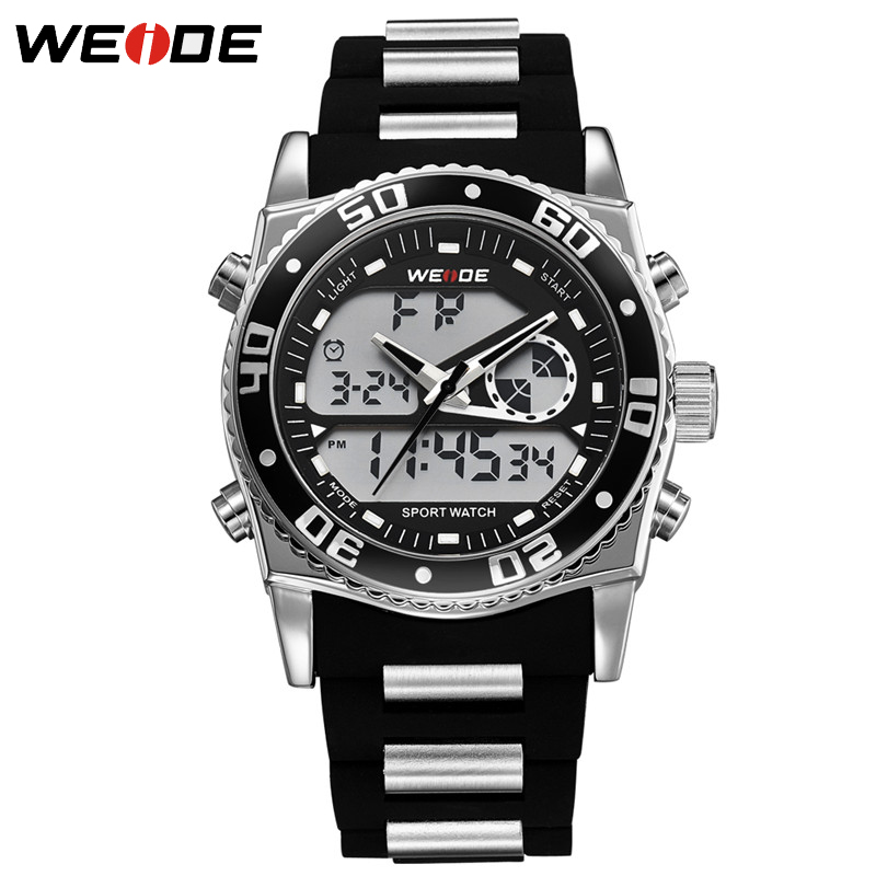 WEIDE Brand Men Dual Display Wristwatches Back Light Alarm Clock Big Dial Man Watch Waterproof Complete Calendar Military WH2316 weide 2017 new men quartz casual watch army military sports watch waterproof back light alarm men watches alarm clock berloques