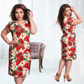 2017 New Brand Women Dress Plus Size 6XL Vestidos Ladies Female Summer Dress Print Flower O Neck Short Sleeve Bodycon Sheath
