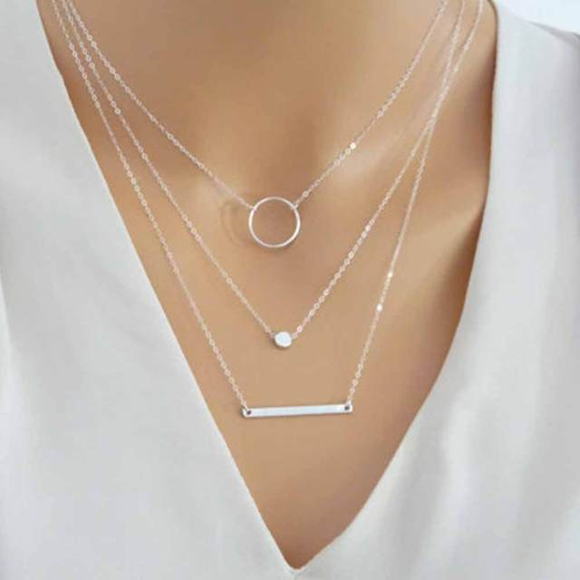 FAMSHIN 2017 New Fashion Wild Aperture Metal Rods Necklace Gold Silver Layered Necklace For Women Charm Gift