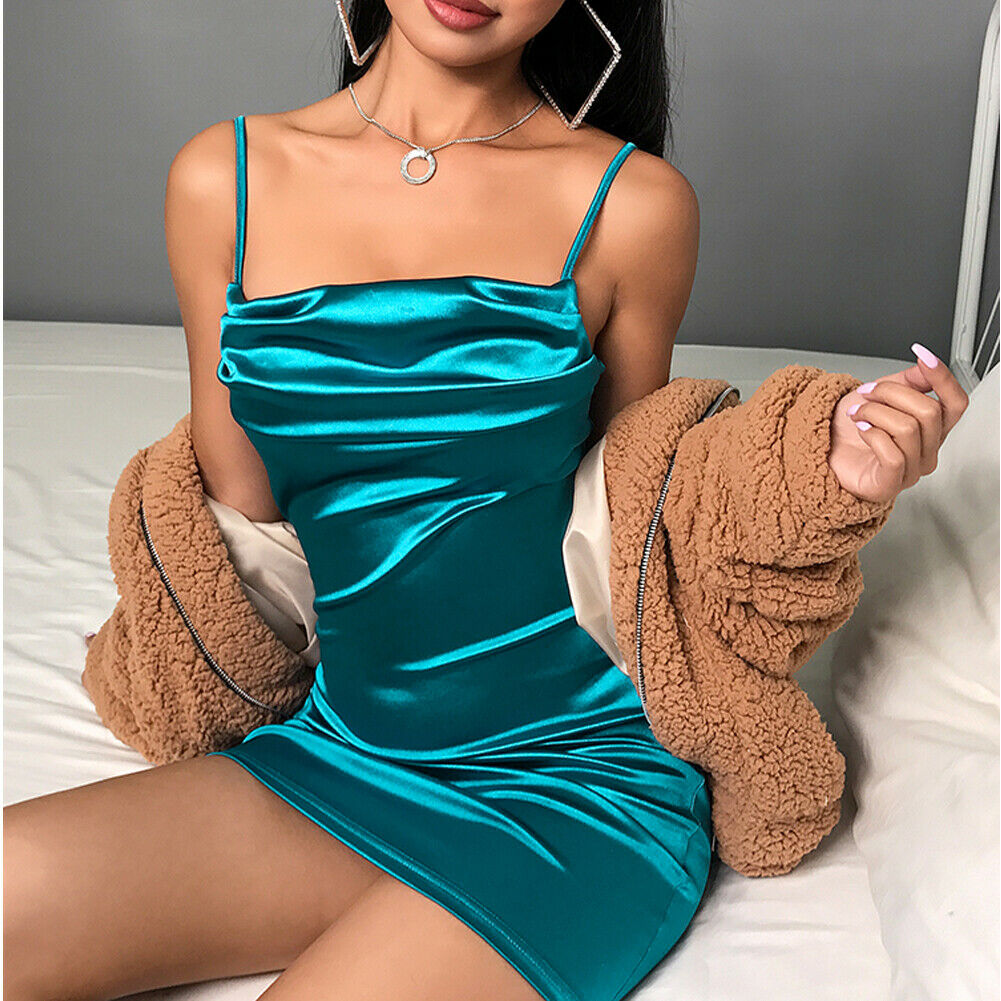 Women's Spaghetti Strap Vintage Summer Draped Satin Silk Bodycon Slim Party Evening Mini Dress