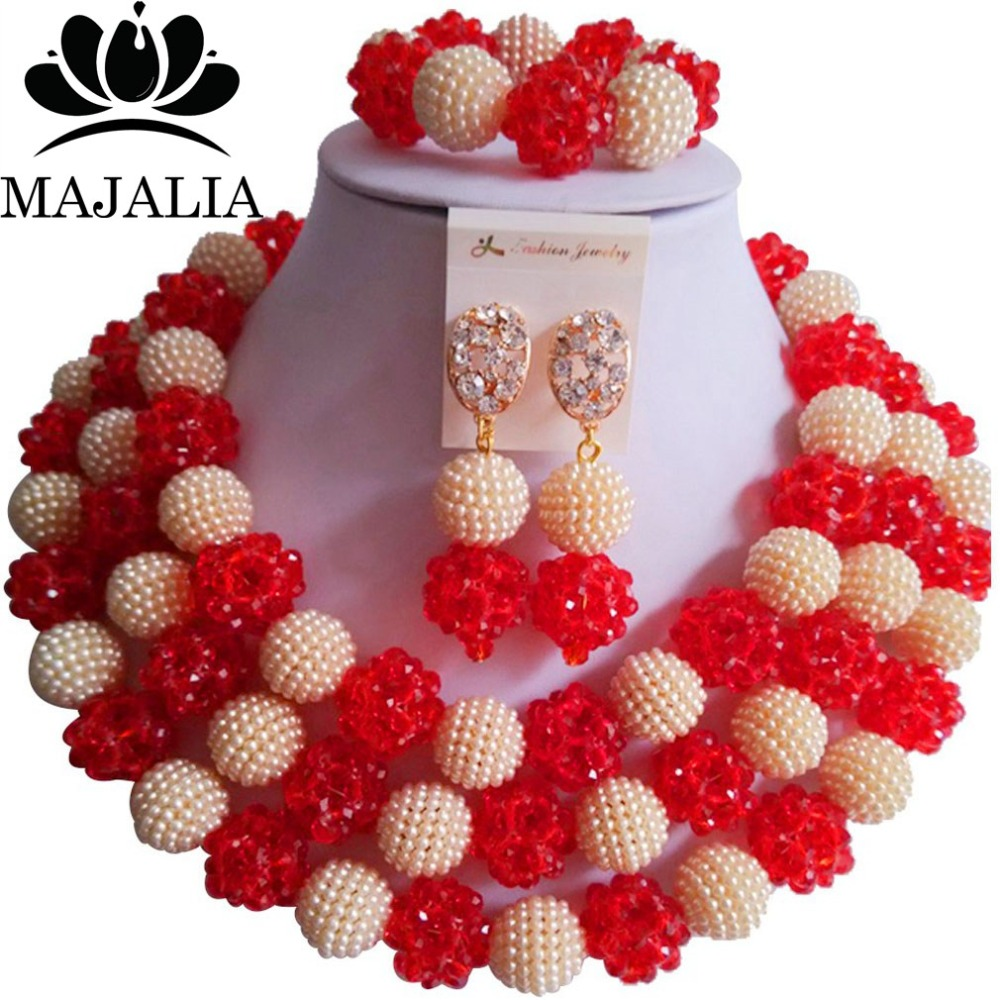 Trendy Nigeria Wedding african beads jewelry set red crystal necklace bracelet earrings Free shipping VV-294 цена