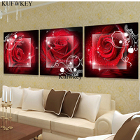 3 pz/set 5d pittura diamante Rosa rossa, Piena, Ricamo Diamante fai da te, Fatto A Mano, 3d immagine, immagine, punto Croce, Diamante Mosaico, cucina