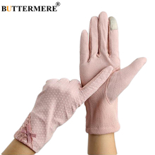 BUTTERMERE Women Pink Gloves Elegant Bow Thin Gloves Lace Female Cotton Polk Dot Autumn Ladies Touch Screen Breathable Mittens