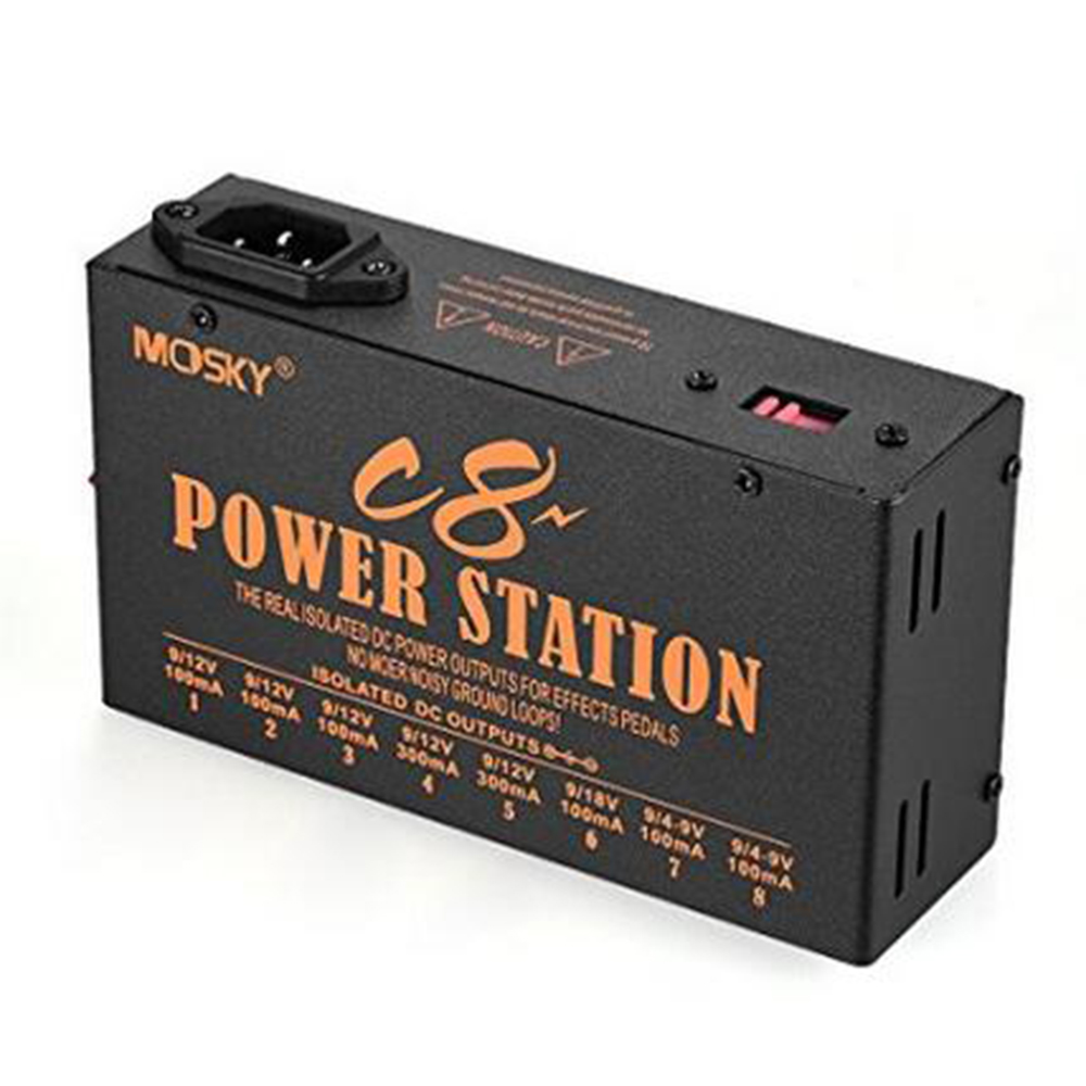 Mosky C8 Power Guitar Effect Pedal Power Supply 8 Isolated DC Outputs for 4-9V 12V 18V Power цена