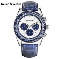 KW Men S Chronograph Wrist Watch Sub Dial Function Sport Style With Leather Strap High Quality