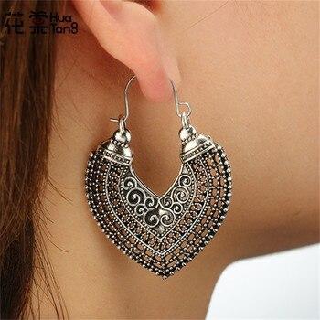 HuaTang Vintage Gold Silver Round Heart Earrings For Women Alloy Brincos Earings Oorbellen Hoop Earrings Pendientes Bohemia 5036