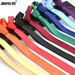 Image 2 - JEMYGINS Originele 4cm Natuurlijke Zijde Slim Skinny Solid Tie Handgemaakte Mode Mannen Das Multicolor Voor Meeting Wedding Party