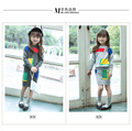 Girls Set 2016 autumn Korean version of spring and autumn stitching pullover sweater children wear two-piece suits baby skirt