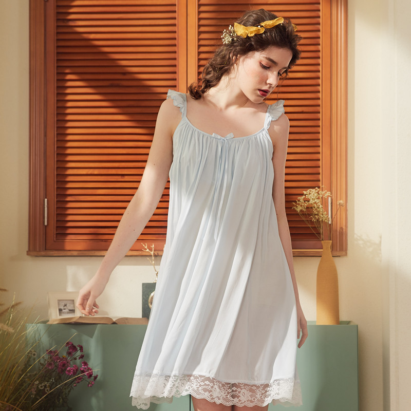 Summer   Nightgowns     Sleepshirts   Sleepwear Women Stretchy Slash Neck Night Wear Princess Mini Dress Plus Size Homewear