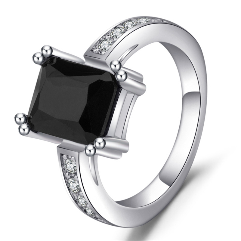 S925 Silver Color Obsidian Diamond Ring for Women Men Mystic Bizuteria Peridot Jewelry De Gemstone Topaz Sterling Silver Ring