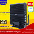 High end gen intel core i7 6500u 6600u skylake fanless mini pc suporte do windows 10 linux box tv hd 4 k mini computer gaming pc
