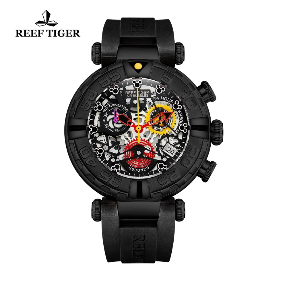Reef Tiger/RT Luxury Brand Sport Watch Men Rubber Strap Skeleton Quartz Watches Chronograph Date Montre Homme RGA3059-SReef Tiger/RT Luxury Brand Sport Watch Men Rubber Strap Skeleton Quartz Watches Chronograph Date Montre Homme RGA3059-S