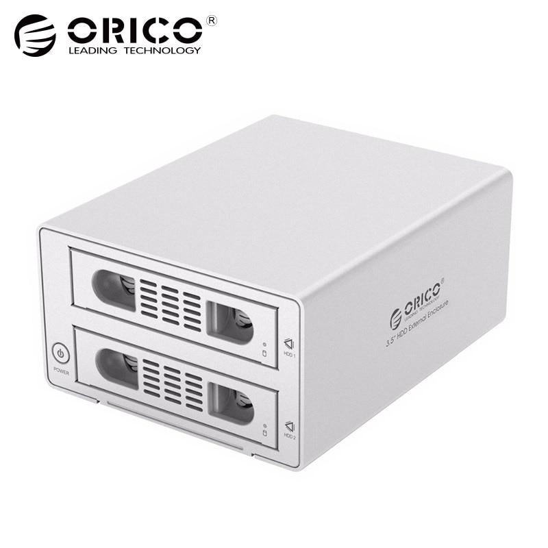 ORICO Tool Free 2 Bay 3.5 Inch SATA to USB 3.0 eSATA HDD External Docking Station RAID Function 2bay Aluminum HDD Case yottamaster high end hdd docking station dual bay 2 5 inch usb3 0 to sata3 0 external hdd case 8tb support raid 0 1 span