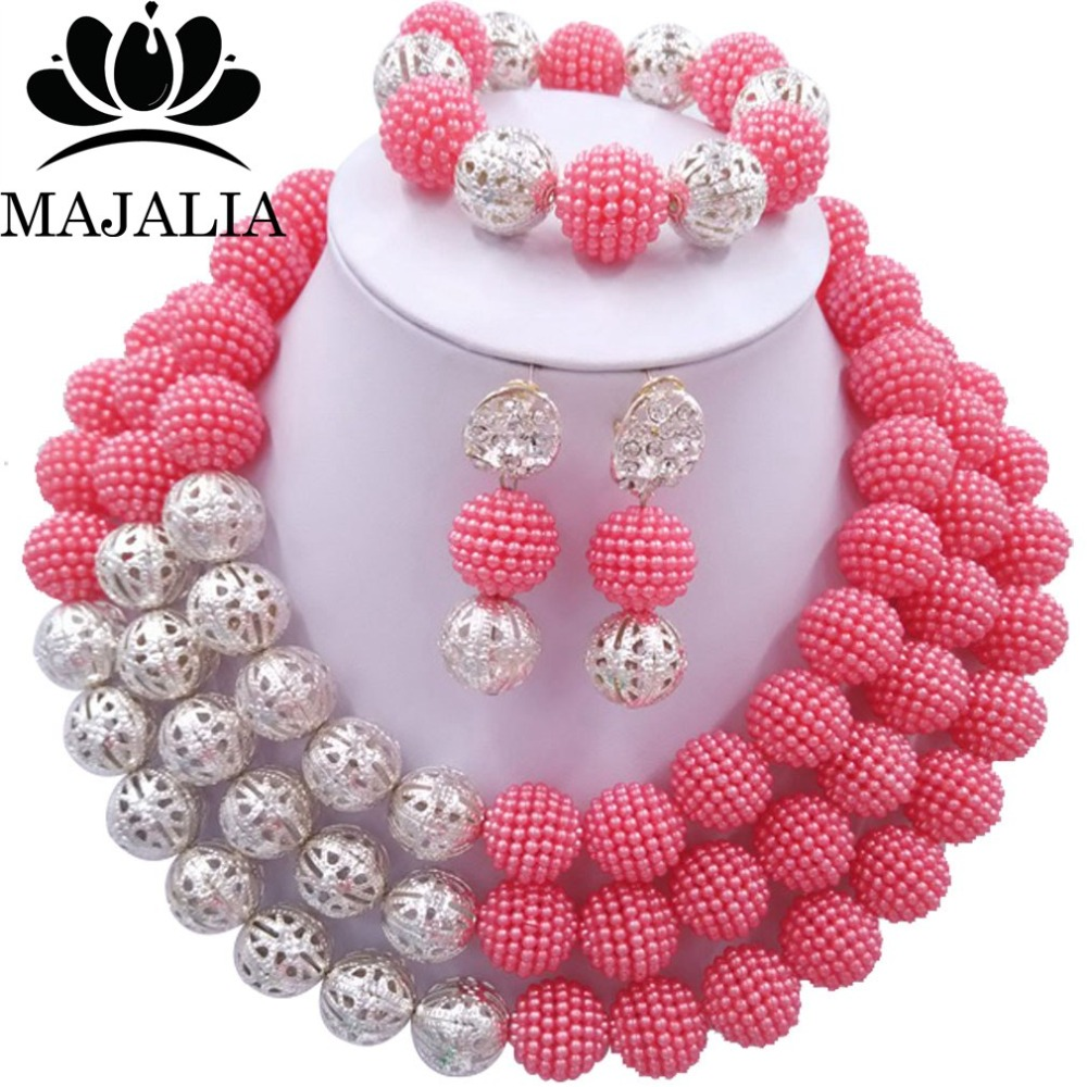 Majalia Fashion Nigerian Wedding African Jewelery Set Coral pink Crystal Plastic Pearl Necklace Bride Jewelry Sets 3SQ009