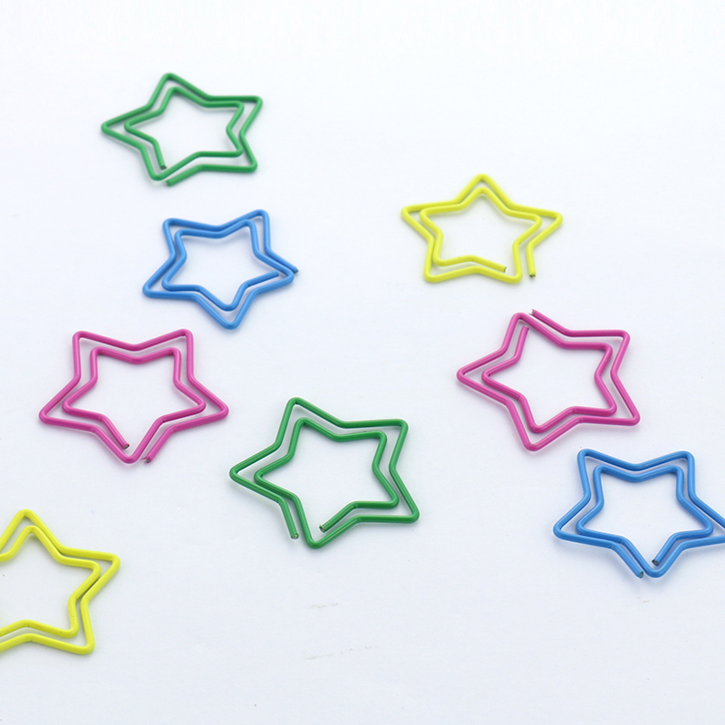 TUTU 20PCS/LOT Purple Green Yellow Blue Paper Clips Metal Clip Bookmarks Storage Office Accessories Cute Star Paper Clips H0116