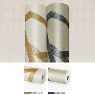 Купить с кэшбэком Modern Geometric Striped Wallpaper Golden Blue Fantasy World Non-woven Bedroom Living Room Wallpaper Roll