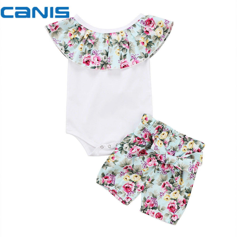 2017 Brand New Casual Newborn Toddler Infant Baby Girl Cotton Romper Crop Tops Shorts 2Pcs Outfit Floral Clothes 0-24M 2017 floral baby romper newborn baby girl clothes ruffles sleeve bodysuit headband 2pcs outfit bebek giyim sunsuit 0 24m