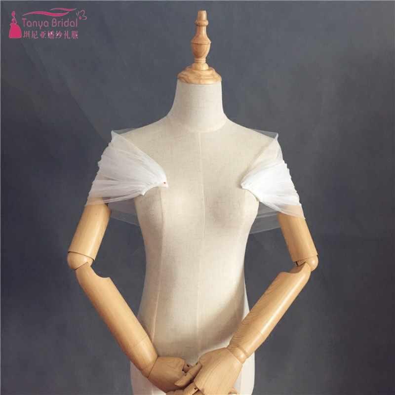 כתף רשת חתונה בולרו מעילי כלה אביזרי לבן הכלה צעיפי כורכת פשוט סגנון DQG255