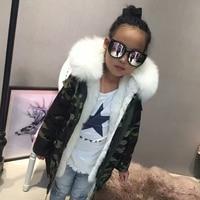 Hot Sale Genuine Fox Fur Collar Kids Wear Natural Rex Rabbit Fur Lining Kid S Clothing