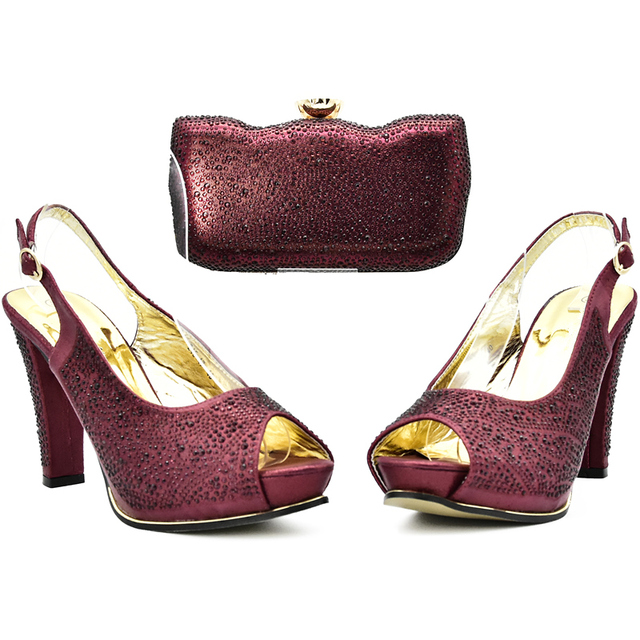 Wine Color Italian Shoes with Matching Bags High Quality Shoes and Bag Set African Sets 2018 Ladies Shoes with Matching Bags Set