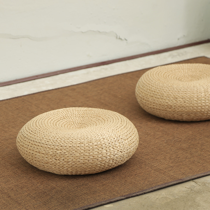 Handcrafted Eco-Friendly Breathable Woven Straw Seat Cushion Natural Straw Futon Pouf Ottoman Floor Seating Tatami Futon Stool