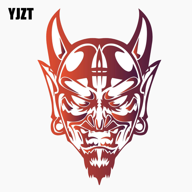 YJZT 8.9CM*12.7CM Devil Satan Face Evil Demon Personality Reflective Car Sticker C1-7728