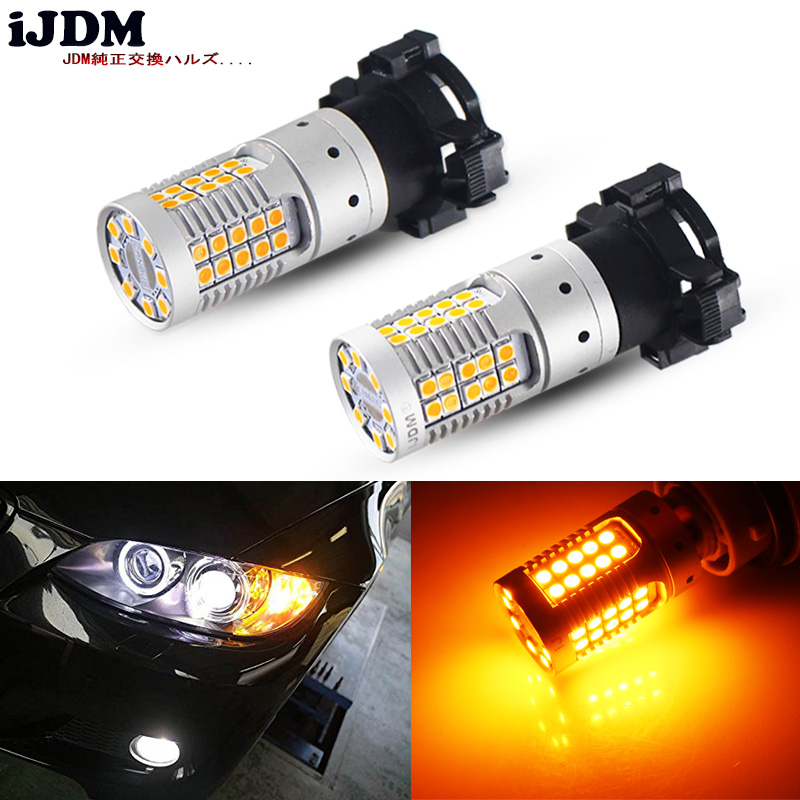 iJDM Canbus No Hyper Flash Amber Yellow PH24WY PY24W LED Bulbs For BMW E92/E93 3 F10/F07 5 Series E83/F25 X3 E70 X5 E71 X6 Z4