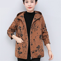 Fashion Spring Short Women Jacket 2019 New High Quality Print Ladies Hooded Outerwear Casual Plus Size Jacket Tops Ladies Coat