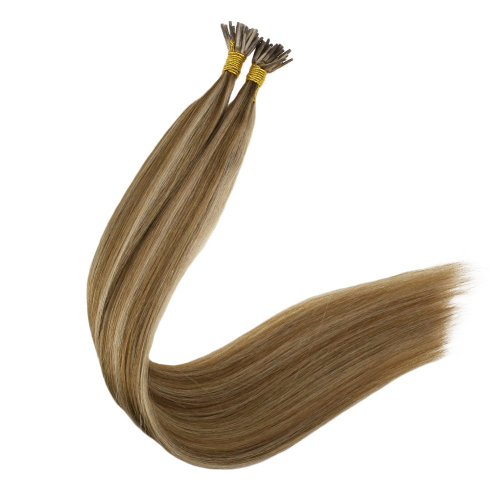 Full Shine  I Tip Hair Extensions Highlighted Blonde Piano Color #10/16 1g Per Strand 50g Pre. Bonded Remy I Tip Hair Extensions