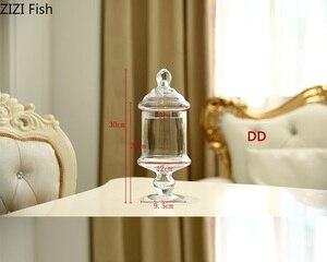 Image 5 - ヨーロッパスタイル透明ガラスキャンデーの瓶とガラスカバー結婚式のデザートディスプレイスタンドホームキャンディー貯蔵タンク