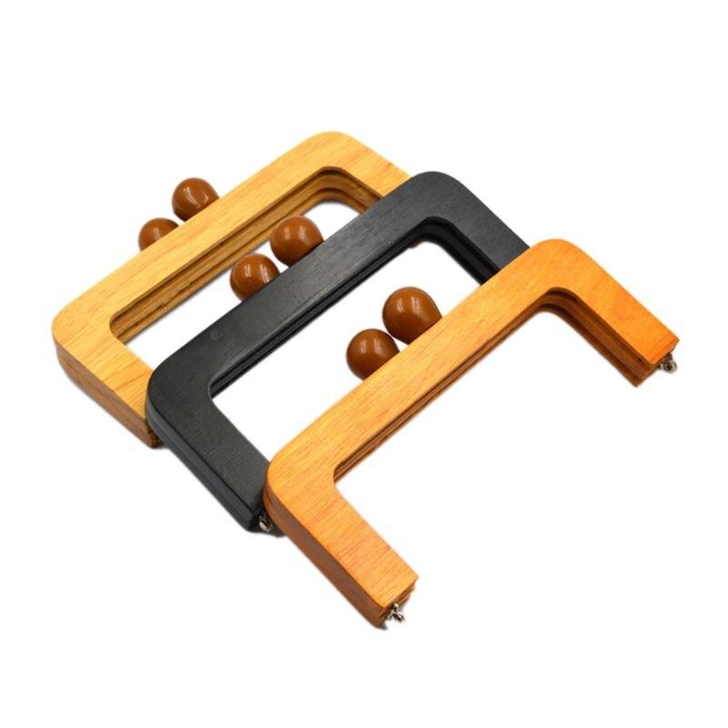 20X8cm Wooden Purse Frame Closures Diy Handbag Handle For Change Bag Women 3 Color