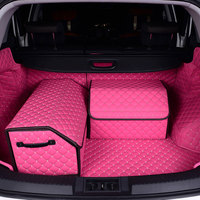 3DCar Trunk Box Storage Bag Organizer Foldable waterproof PU Leather Auto Durable Collapsible Cargo Storage Stowing Tidying L XL