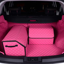 Car Trunk Organizer Box Storage Bag Auto Trash Tool PU Leather Folding Large Cargo Stowing Tidying Accessories