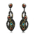 Multi color de piedra pendientes de la joyería Nuevo 2 tono oro negro diseño clásico con azul y rojo óxido de circonio cúbico joyería de la gota pendiente