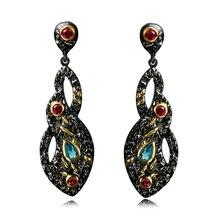 Multi piedra pendientes de Gota pendientes de la joyería Nuevo 2 tono oro negro Clásico 3A circonita joyería