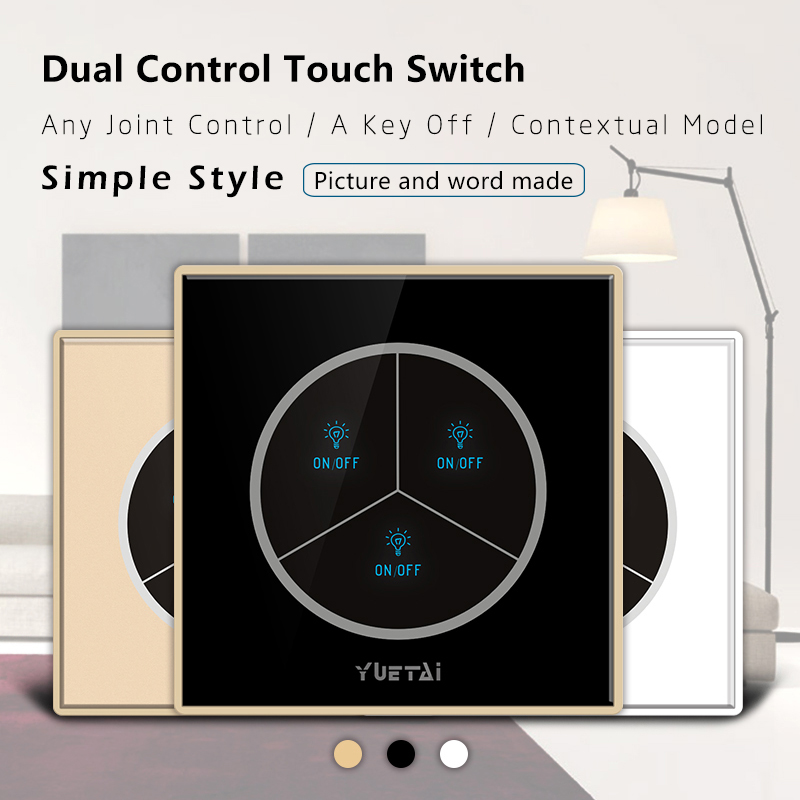 Touch Wall Switch 3Gang EU/UK Wireless Switch  Smart Home Remote Controller smart home eu touch switch wireless remote control wall touch switch 3 gang 1 way white crystal glass panel waterproof power