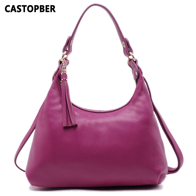 First Layer of Cowhide Genuine Leather Women's Bag Hobos Famous Designer Brand Ladies Bags Tote Shoulder Tassel Crossbody Female qiaobao 100% genuine leather women s messenger bags first layer of cowhide crossbody bags female designer shoulder tote bag