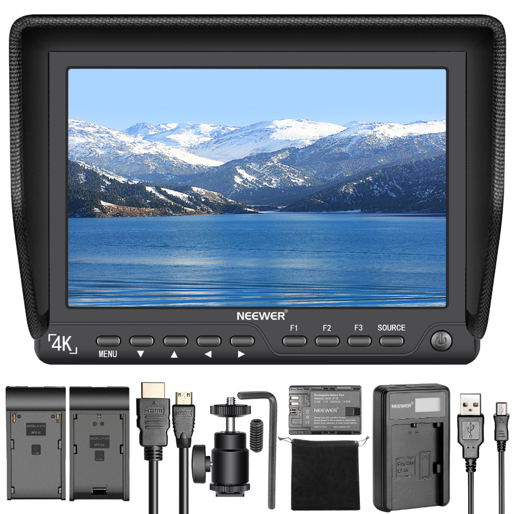 Neewer NW-S7 7 inches 4K HD On-Camera Field Monitor 1920X1200 Resolution for DSLR Camera Camcorder Micro USB Battery Charger