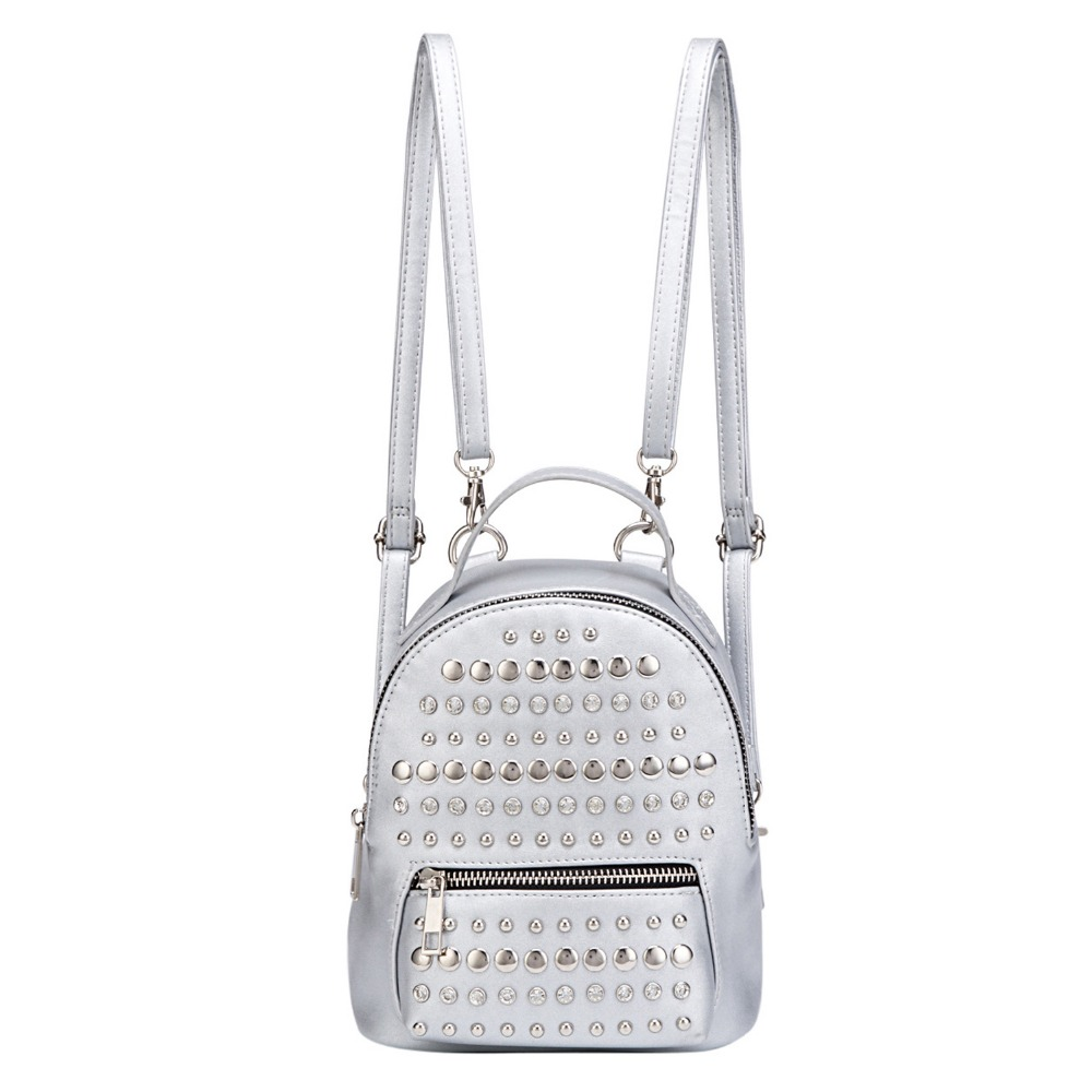 Women PU Leather Silvery Mini Backpack Fashion Lady Rivet Bookbags Cute Small Back Pack Leisure Bagpack