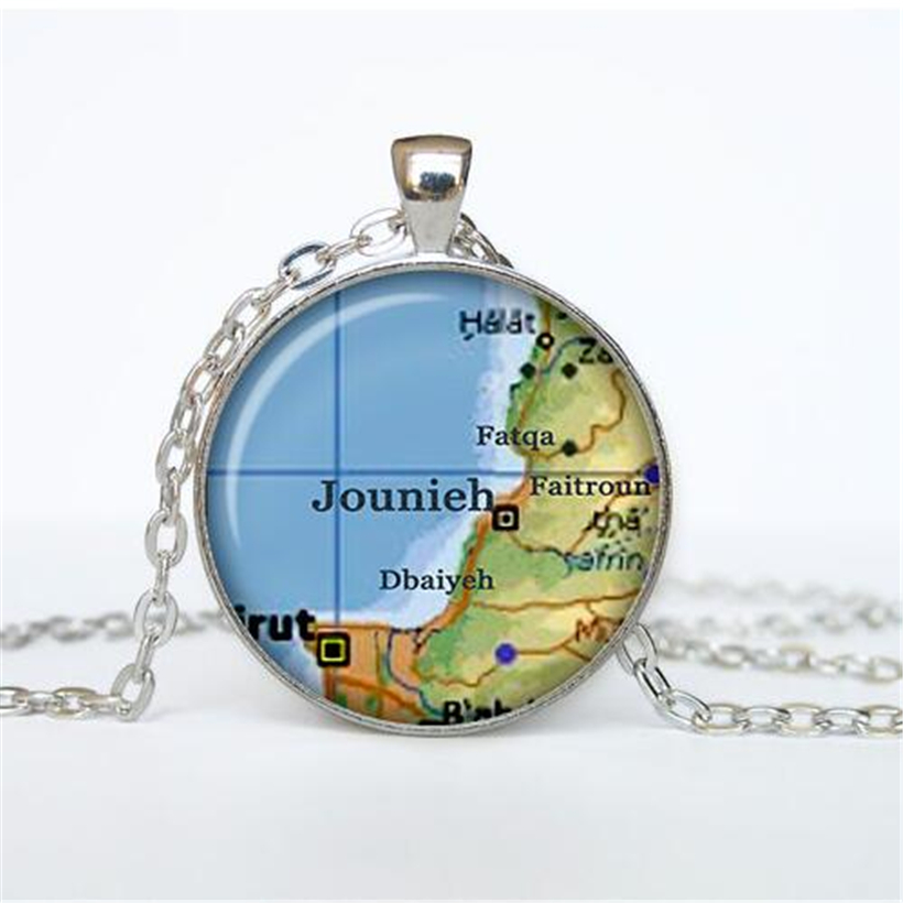Jounieh map pendant, Jounieh map necklace, Jounieh map jewelry, Jounieh <font><b>Beirut</b></font>, Lebanon