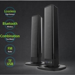 Image 1 - Bluetooth haut parleur Support électrique TF carte PVC son Blaster fendu stéréo Audio pliable TV en plein air théâtre barre de son maison