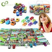 Nowy klasyczny chłopiec dziewczyna cukierki kolor ciężarówka pojazd dla dzieci zabawka dziecięca Mini mały samochód z napędem Pull Back miasto PARKING LOT mapa drogowa mapa samochód DIY WYQ