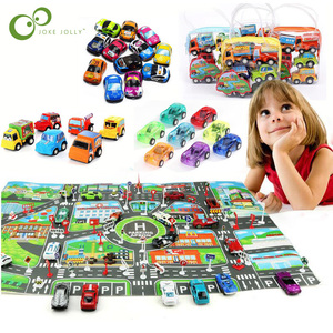 New Classic Boy Girl Candy Color Truck Vehicle Kids Child Toy Mini Small Pull Back Car City PARKING LOT Roadmap Map DIY Car WYQ